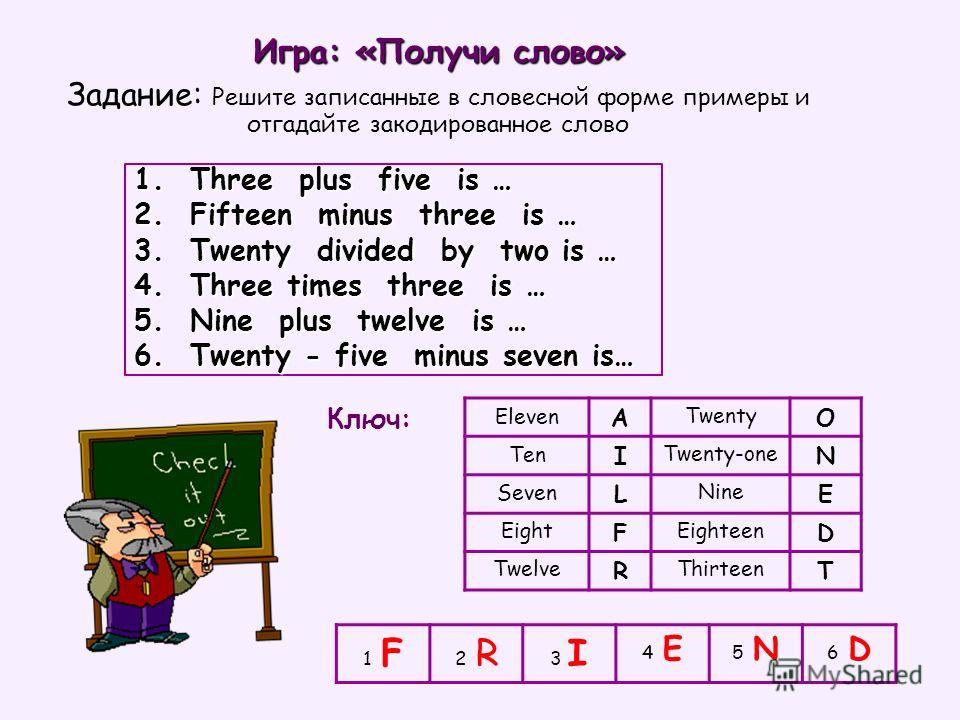 1. Three plus five is … 2. Fifteen minus three is … 3. Twenty divided by two is … 4. Three times three is … 5. Nine plus twelve is … 6. Twenty - five minus seven is… 1 F1 F 2 R2 R 3 I 4 E4 E 5 N5 N 6 D6 D Eleven A Twenty O Ten I Twenty-one N Seven L