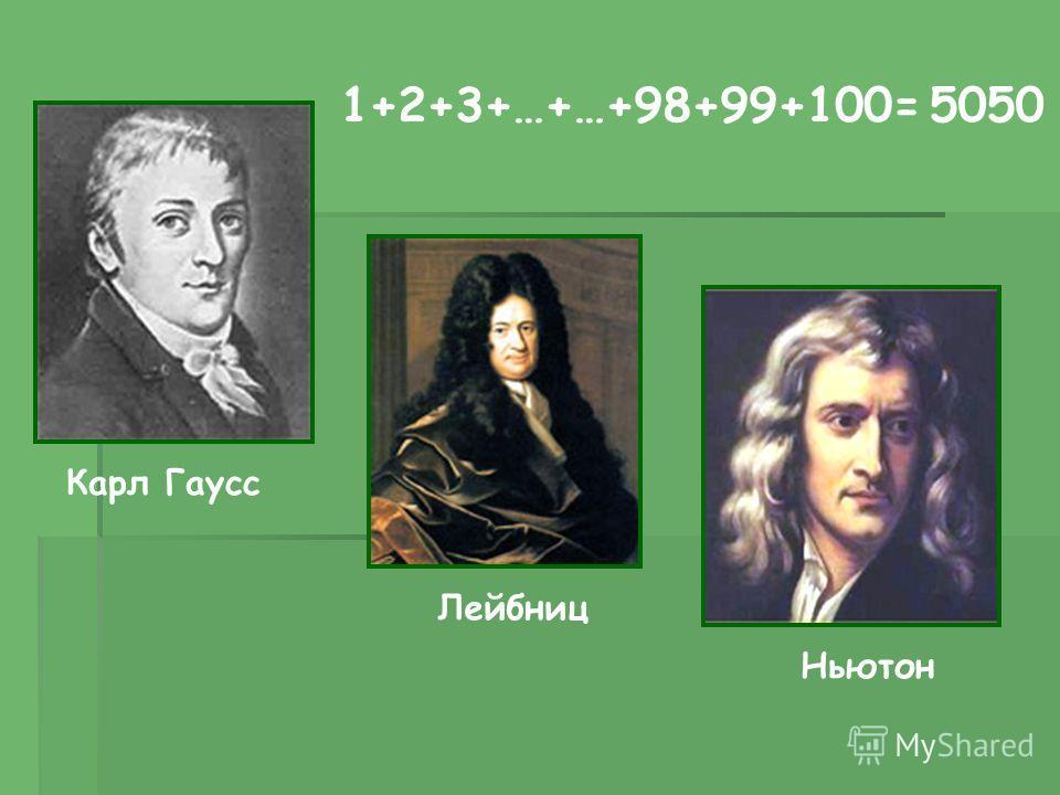 Карл Гаусс Лейбниц Ньютон 1+2+3+…+…+98+99+100=5050