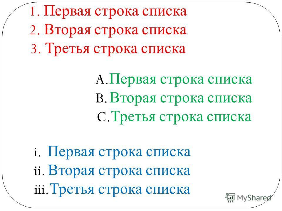 1. Первая строка списка 2. Вторая строка списка 3. Третья строка списка A. Первая строка списка B. Вторая строка списка C. Третья строка списка i. Первая строка списка ii. Вторая строка списка iii. Третья строка списка