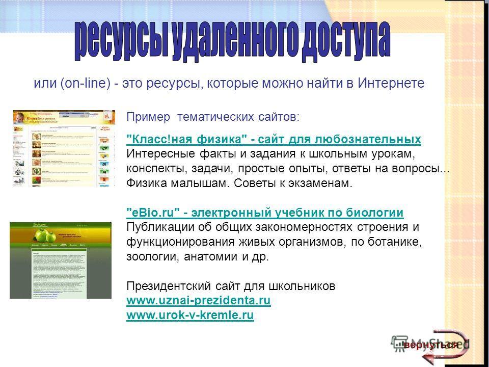 или (on-line) - это ресурсы, которые можно найти в Интернете Пример тематических сайтов: