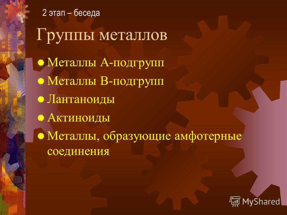 Группы металлов Металлы А-подгрупп Металлы В-подгрупп Лантаноиды Актиноиды Металлы, образующие амфотерные соединения 2 этап – беседа