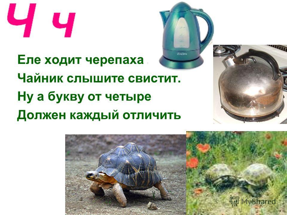 Еле ходит черепаха. Чайник слышите свистит. Ну а букву от четыре Должен каждый отличить