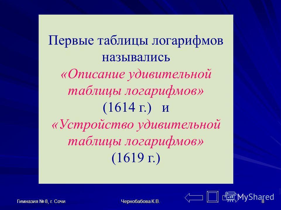 Гимназия 8, г. Сочи Чернобабова К.В. 7 Джон Непер (1550-1617) Джон Непер (1550-1617