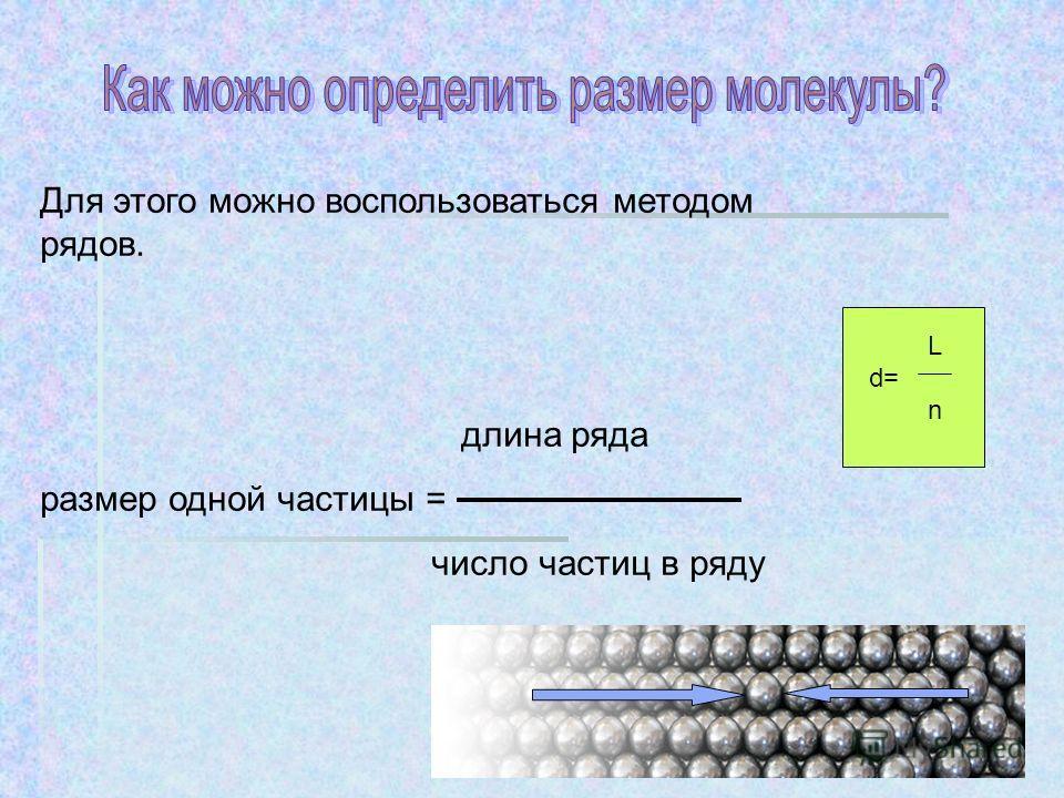 Для этого можно воспользоваться методом рядов. длина ряда размер одной частицы = число частиц в ряду L d= n