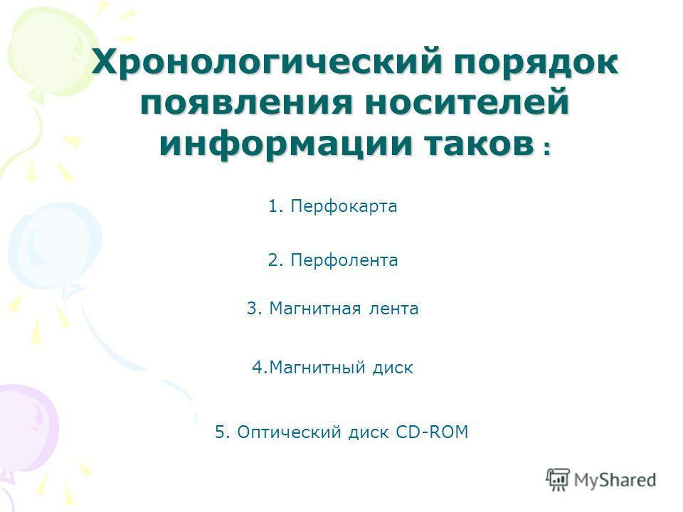 Расположить приведенные названия носителей информации в хронологическом порядке их появления: 1.Перфолента 2. Перфокарта 3. Оптический диск CD-ROM 4.Магнитный диск 5.Магнитная лента