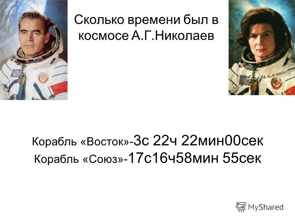 Корабль «Восток»- 3с 22ч 22мин00сек Корабль «Союз»- 17с16ч58мин 55сек Сколько времени был в космосе А.Г.Николаев
