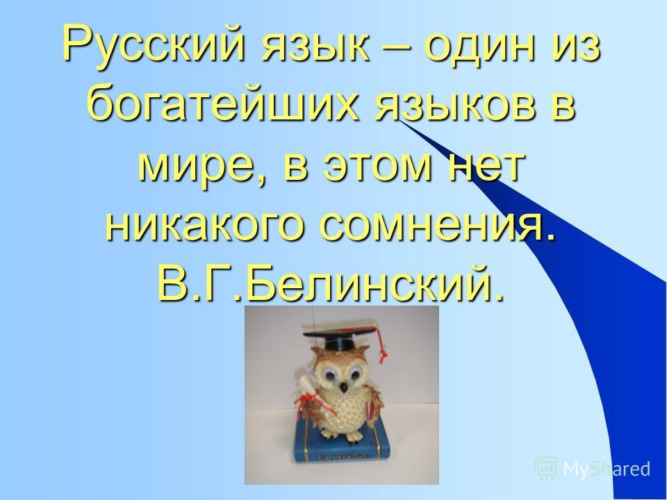 Русский язык – один из богатейших языков в мире, в этом нет никакого сомнения. В.Г.Белинский.