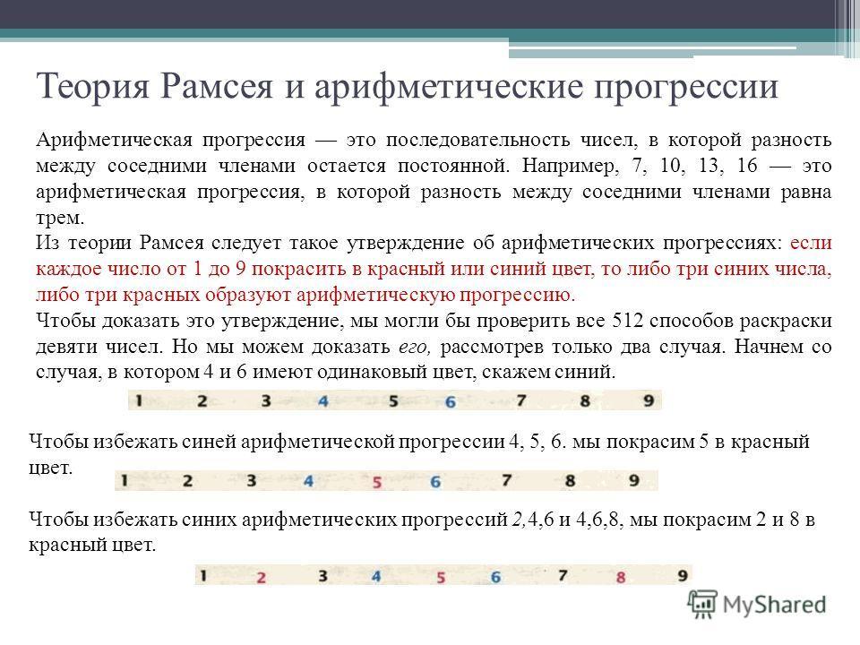 Теория Рамсея и арифметические прогрессии Арифметическая прогрессия это последовательность чисел, в которой разность между соседними членами остается постоянной. Например, 7, 10, 13, 16 это арифметическая прогрессия, в которой разность между соседним