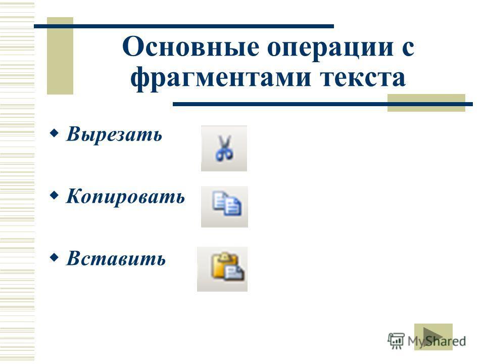 Основные операции с фрагментами текста Вырезать Копировать Вставить