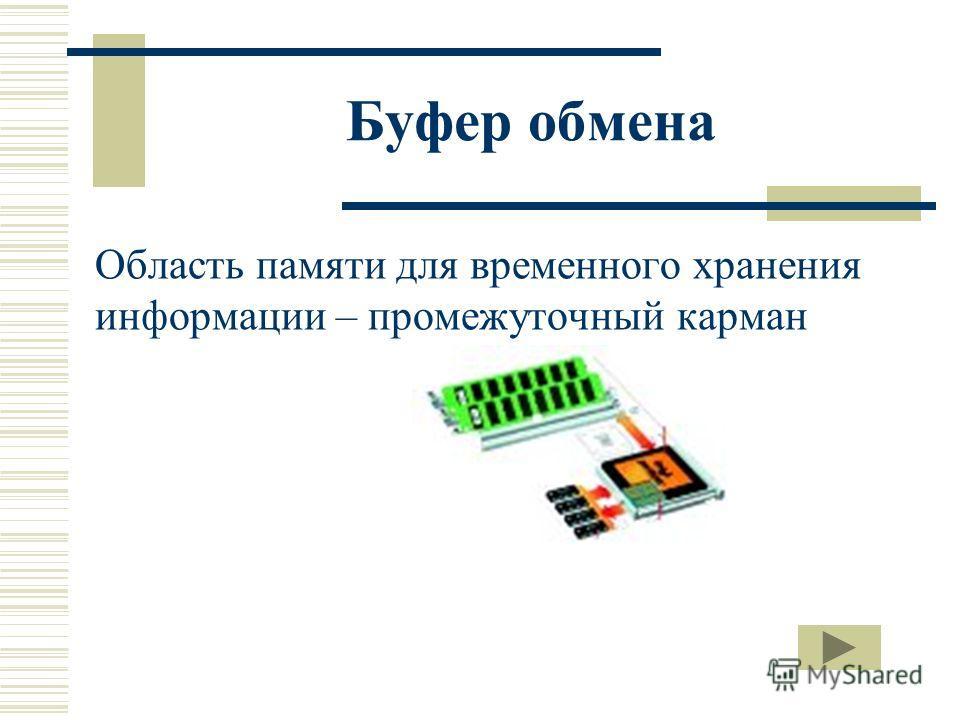 Буфер обмена Область памяти для временного хранения информации – промежуточный карман