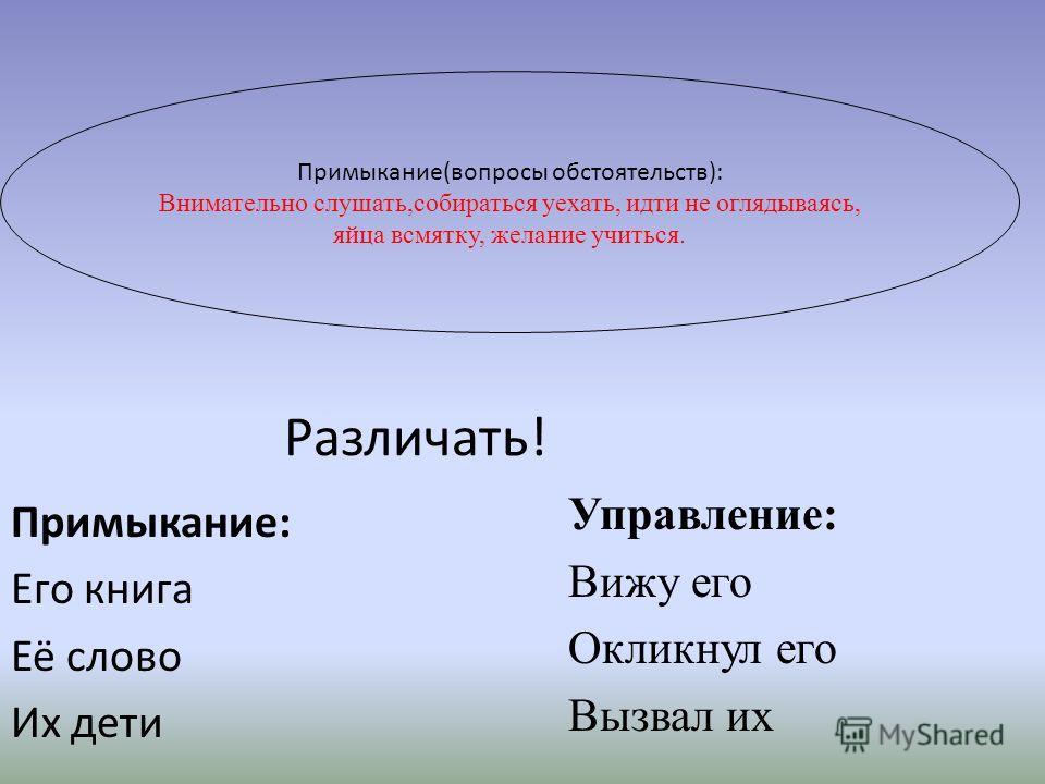 Примыкание-способ подчинительной связи, при котором зависимое слово Главное слово-глагол, деепричастие причастие, наречие, прилагательное, существительное. Зависимое слово- наречие, деепричастие, инфинитив, сравнительная форма, неизменяемое прилагате