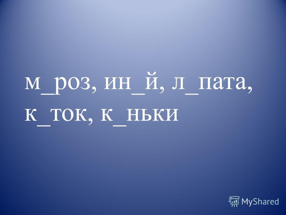 м_роз, ин_й, л_пата, к_ток, к_ньки