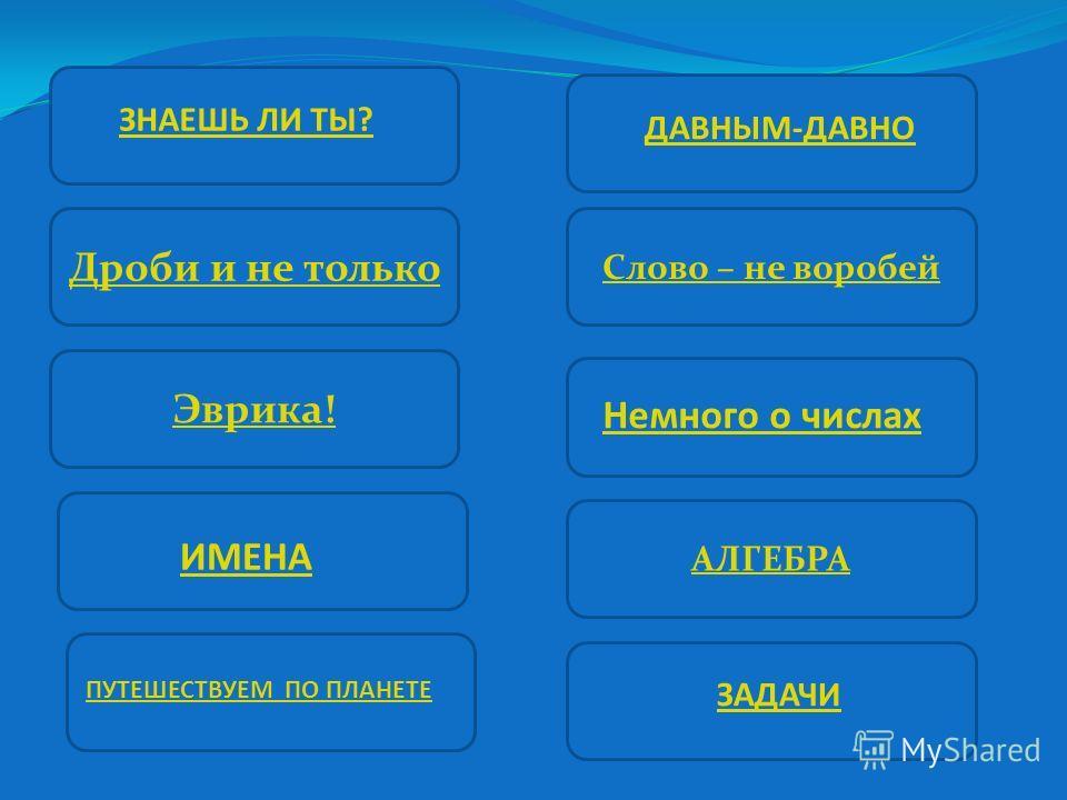 На экране представлены 10 категорий. Команда, по итогам первых двух тинов набравшая максимальное количество очков, выбирает категорию для соперников и игрока для ответа. Желательно выбирать категорию, наиболее сложную для соперников и простую для вас