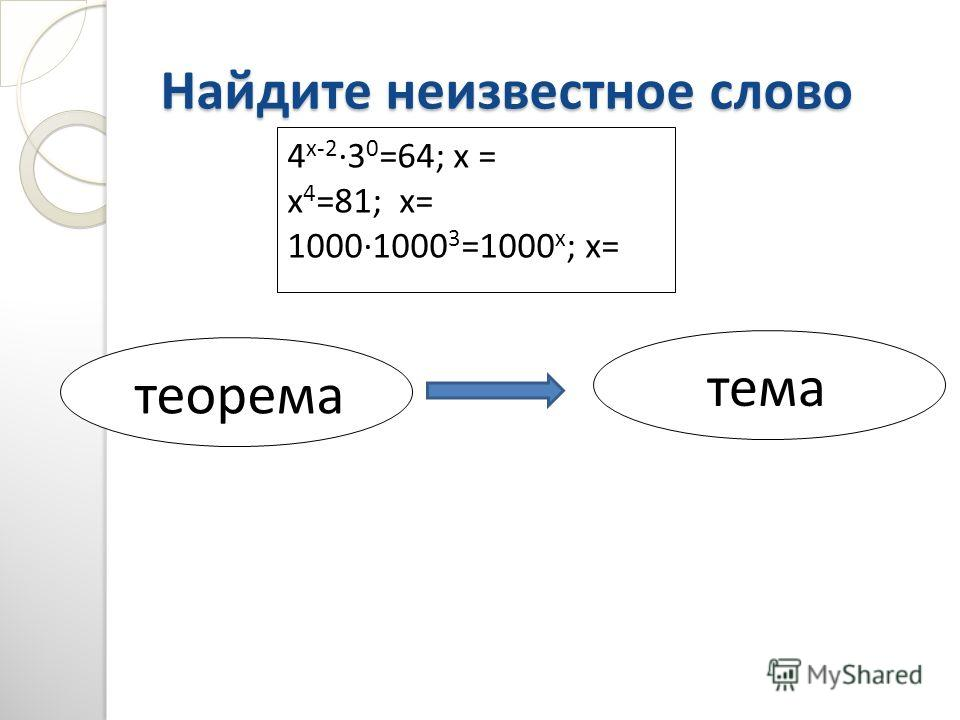 Найдите неизвестное слово 4 х-23 0 =64; х = х 4 =81; х= 10001000 3 =1000 х ; х= теорема тема