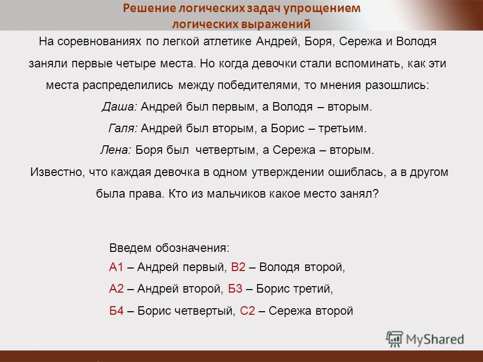 Решение логических задач упрощением логических выражений На соревнованиях по легкой атлетике Андрей, Боря, Сережа и Володя заняли первые четыре места. Но когда девочки стали вспоминать, как эти места распределились между победителями, то мнения разош