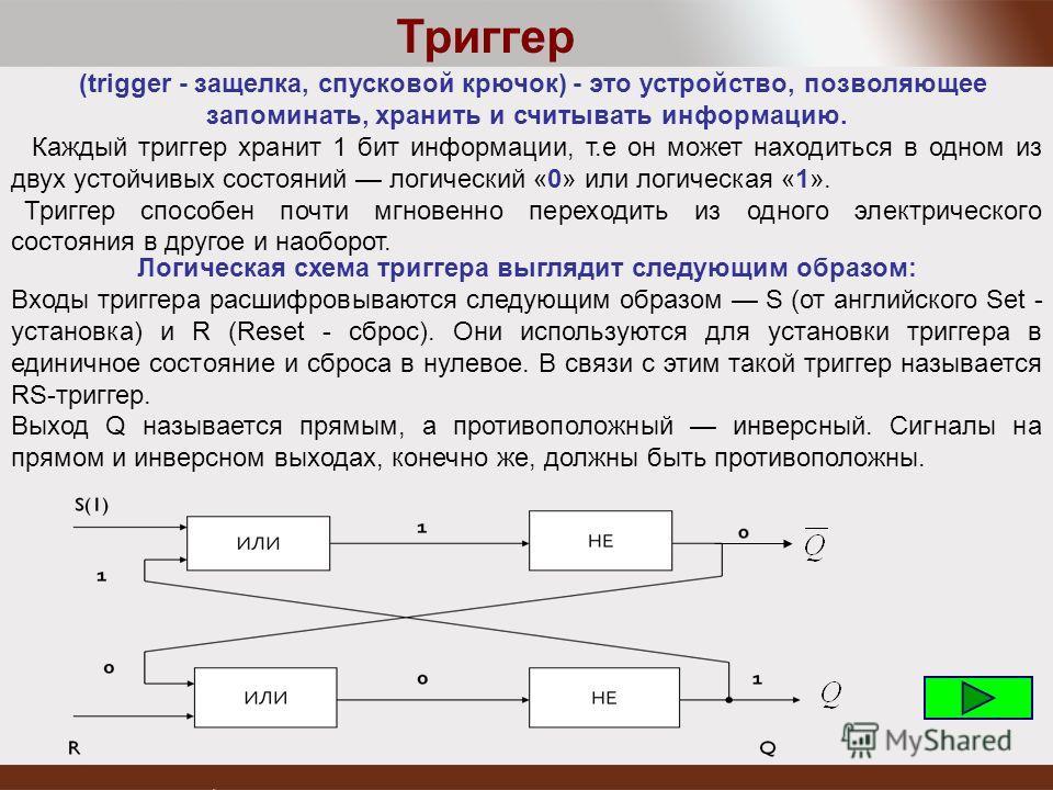 (trigger - защелка, спусковой крючок) - это устройство, позволяющее запоминать, хранить и считывать информацию. Каждый триггер хранит 1 бит информации, т.е он может находиться в одном из двух устойчивых состояний логический «0» или логическая «1». Тр
