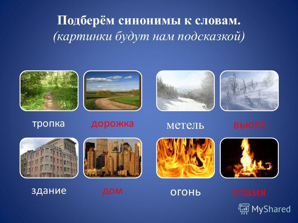 Подберём синонимы к словам. (картинки будут нам подсказкой) тропкадорожка зданиедом метель вьюга огонь пламя
