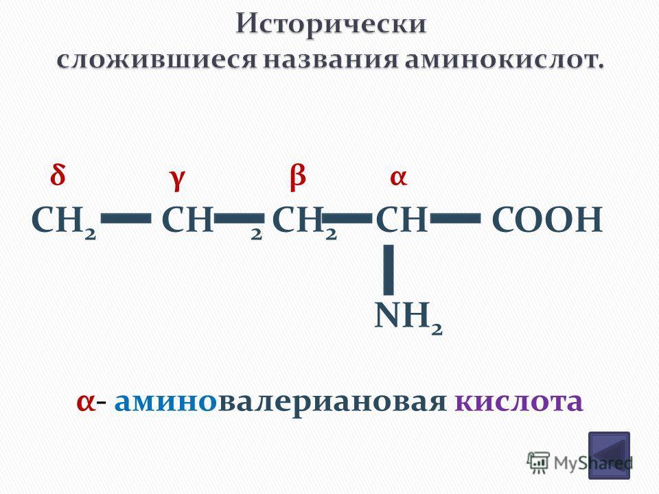 CH 2 CH 2 CH 2 CH COOH NH 2 δ γ β α α- аминовалериановая кислота