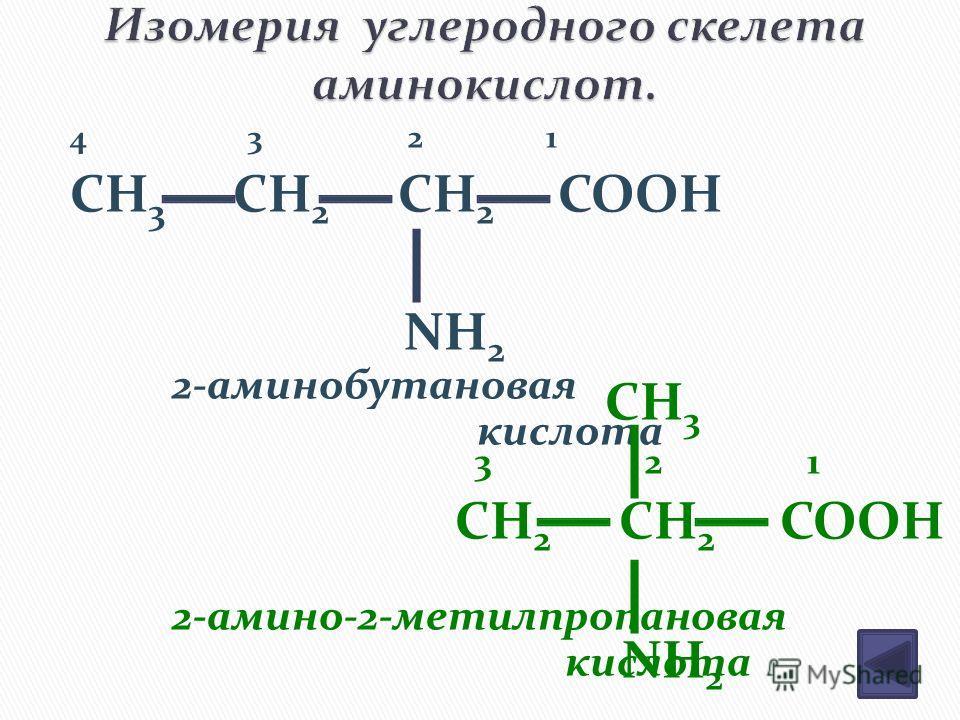 4 3 2 1 CH 3 CH 2 CH 2 COOH NH 2 CH 3 3 2 1 CH 2 CH 2 COOH NH 2 2-аминобутановая кислота 2-амино-2-метилпропановая кислота