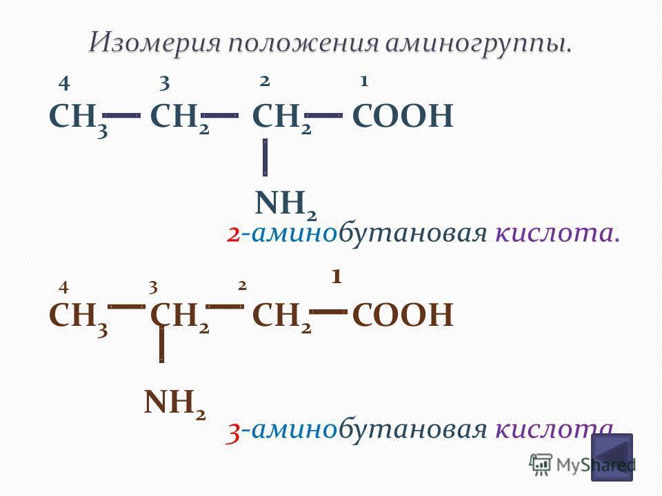 4 3 2 1 CH 3 CH 2 CH 2 COOH NH 2 4 3 2 1 CH 3 CH 2 CH 2 COOH NH 2 2-аминобутановая кислота. 3-аминобутановая кислота.