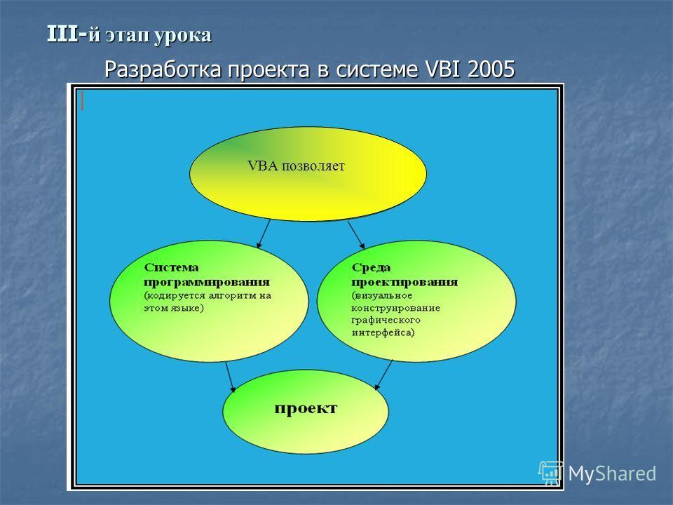 III- й этап урока Разработка проекта в системе VBI 2005 VBA позволяет