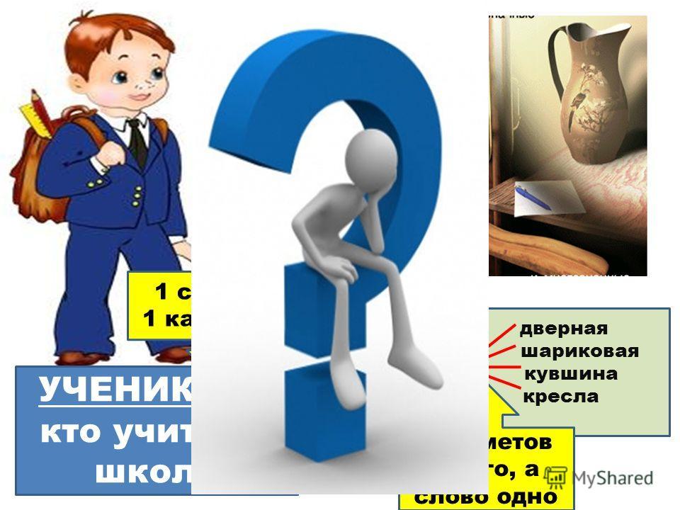 УЧЕНИК тот, кто учится в школе дверная шариковая РУЧКА кувшина кресла 1 слово – 1 картинка предметов много, а слово одно