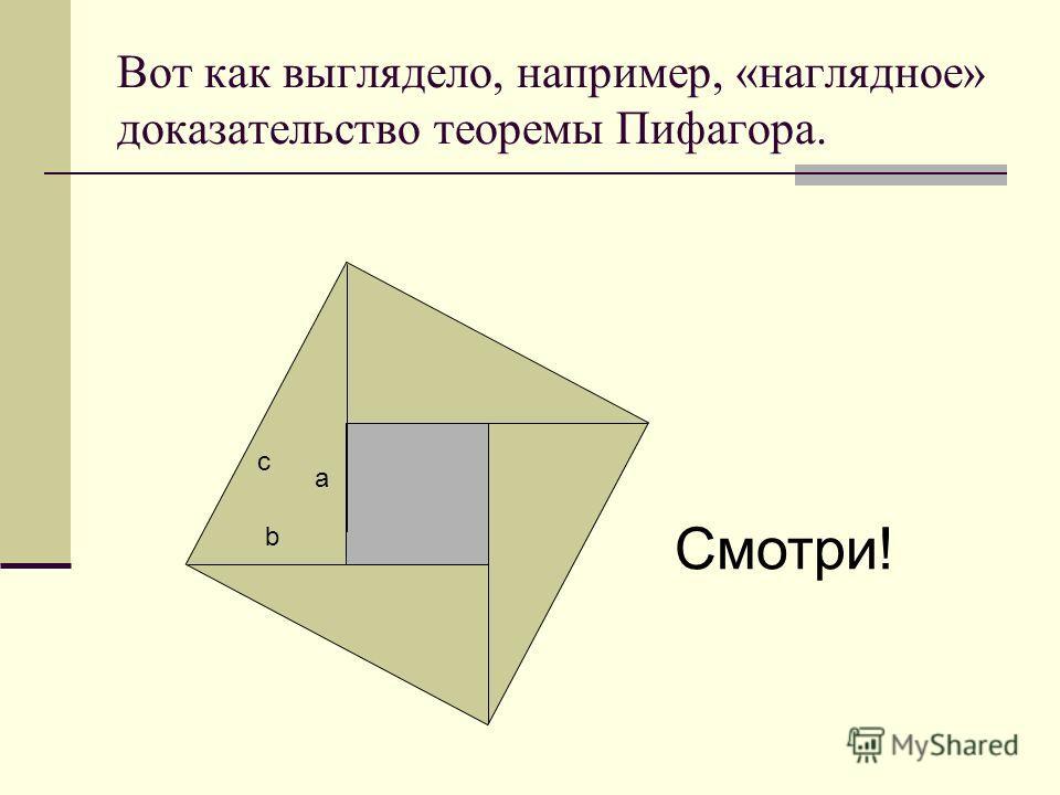 Вот как выглядело, например, «наглядное» доказательство теоремы Пифагора. a b c Смотри!