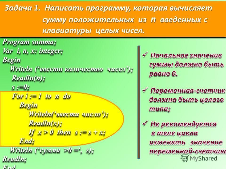 Задача 1. Написать программу, которая вычисляет сумму положительных из n введенных с клавиатуры целых чисел. Program summa; Var i, n, x: integer; Begin Writeln (ввести количество чисел); Writeln (ввести количество чисел); Readln(n); Readln(n); s :=0;