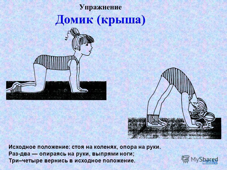Упражнение Домик (крыша) назад Исходное положение: стоя на коленях, опора на руки. Раз-два опираясь на руки, выпрями ноги; Три–четыре вернись в исходное положение.