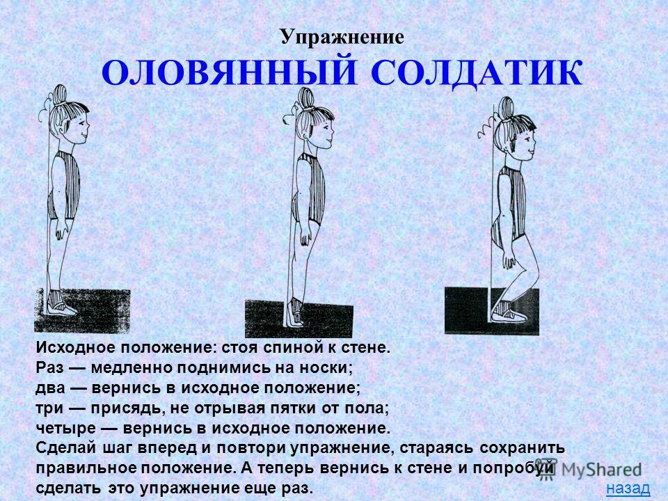 Упражнение ОЛОВЯННЫЙ СОЛДАТИК назад Исходное положение: стоя спиной к стене. Раз медленно поднимись на носки; два вернись в исходное положение; три присядь, не отрывая пятки от пола; четыре вернись в исходное положение. Сделай шаг вперед и повтори уп