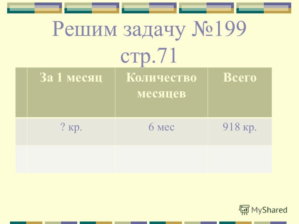 Решим задачу 199 стр.71 За 1 месяцКоличество месяцев Всего ? кр.6 мес918 кр.