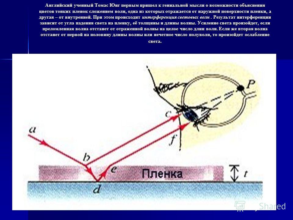 Английский ученный Томас Юнг первым пришел к гениальной мысли о возможности объяснения цветов тонких пленок сложением волн, одна из которых отражается от наружной поверхности пленки, а другая – от внутренней. При этом происходит интерференция световы