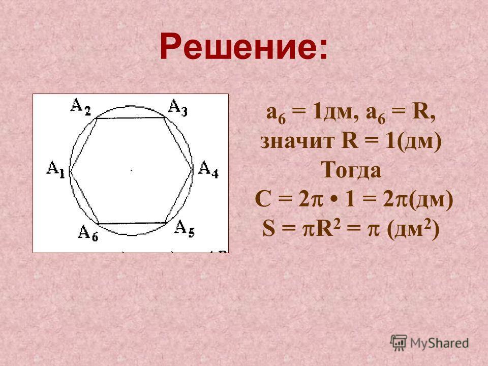 Решение: а 6 = 1дм, а 6 = R, значит R = 1(дм) Тогда С = 2 1 = 2 (дм) S = R 2 = (дм 2 )