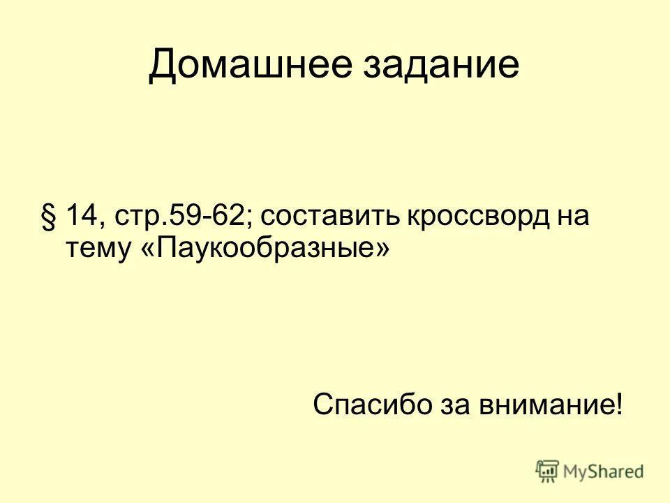 Домашнее задание § 14, стр.59-62; составить кроссворд на тему «Паукообразные» Спасибо за внимание!