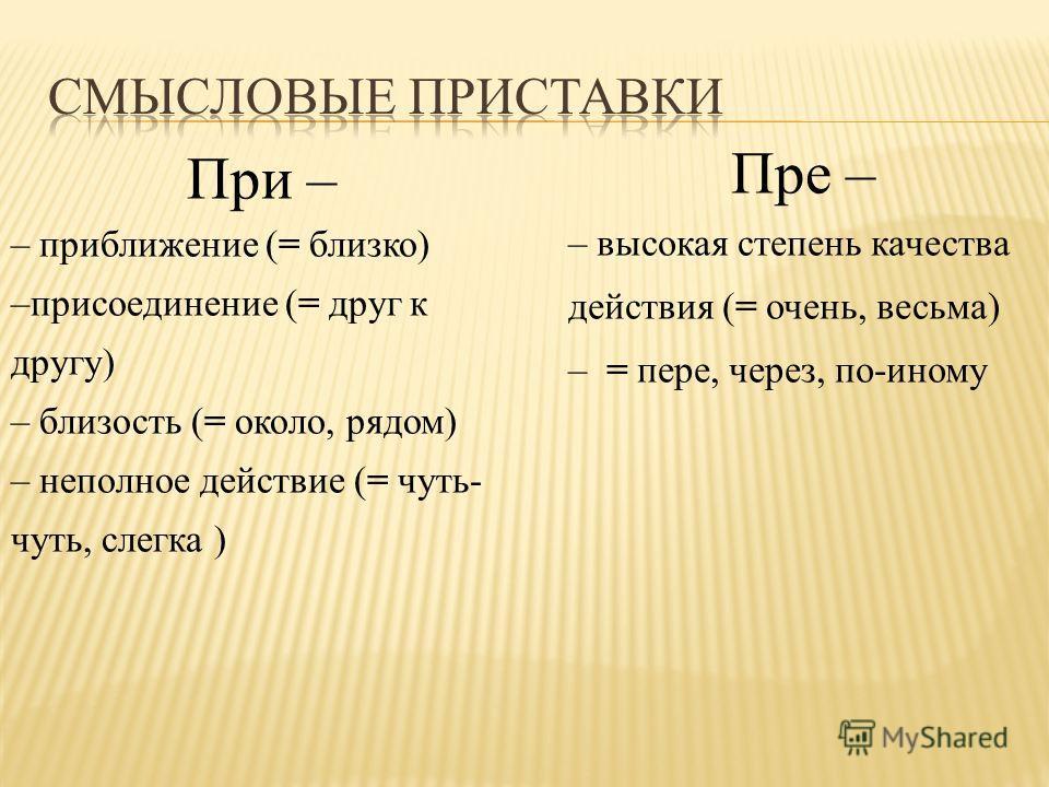 При – – приближение (= близко) –присоединение (= друг к другу) – близость (= около, рядом) – неполное действие (= чуть- чуть, слегка ) Пре – – высокая степень качества действия (= очень, весьма) – = пере, через, по-иному