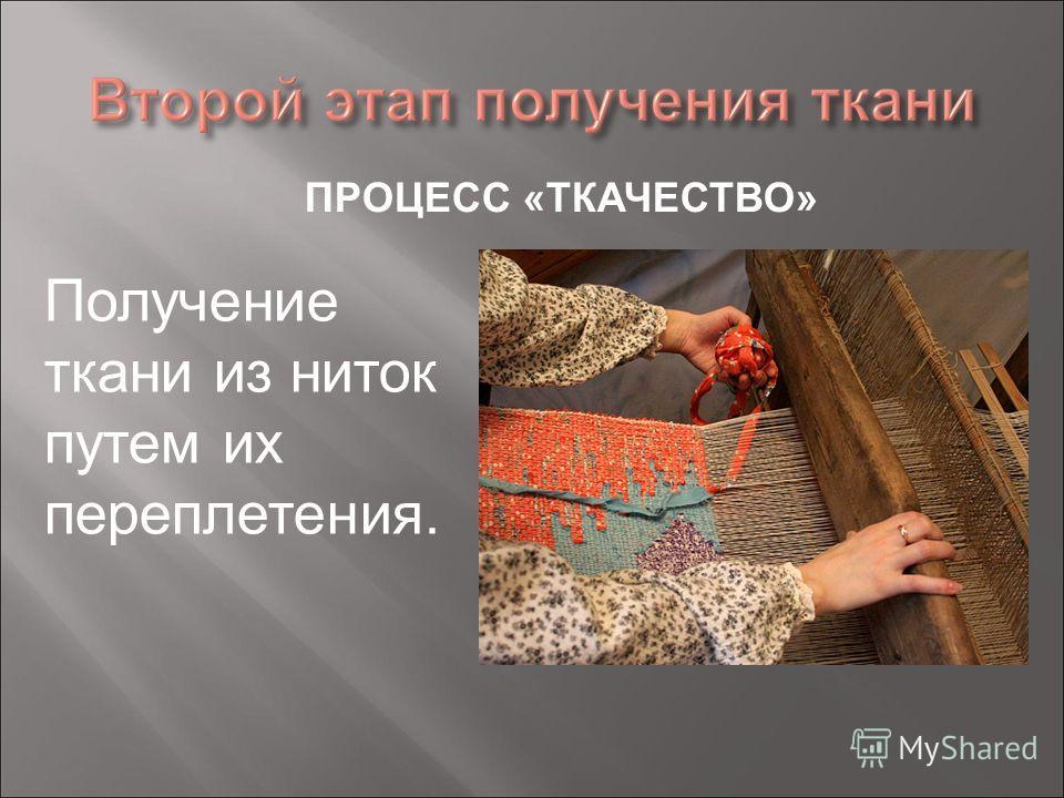 ПРОЦЕСС «ТКАЧЕСТВО» Получение ткани из ниток путем их переплетения.