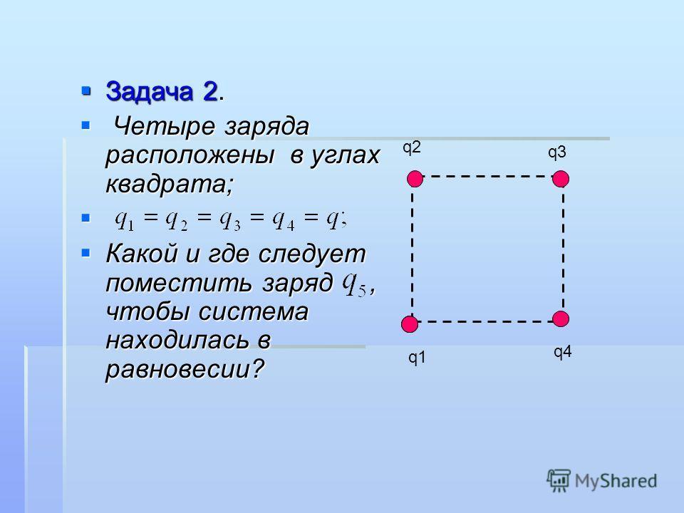 Задача 2. Задача 2. Четыре заряда расположены в углах квадрата; Четыре заряда расположены в углах квадрата; Какой и где следует поместить заряд, чтобы система находилась в равновесии? Какой и где следует поместить заряд, чтобы система находилась в ра