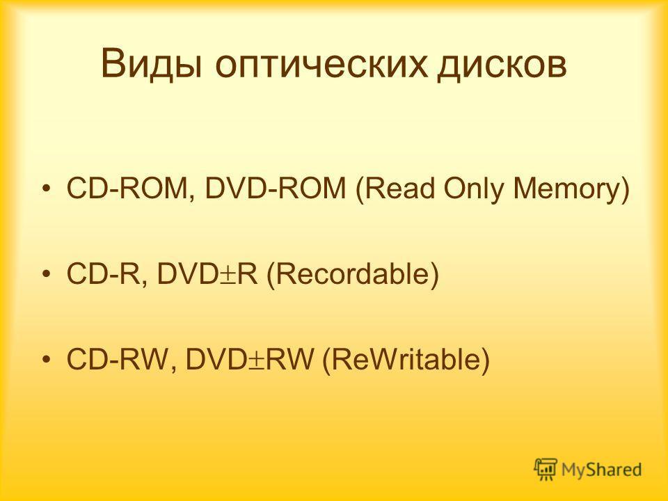 Виды оптических дисков CD-ROM, DVD-ROM (Read Only Memory) CD-R, DVD R (Recordable) CD-RW, DVD RW (ReWritable)