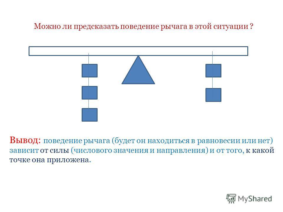 Вывод: поведение рычага (будет он находиться в равновесии или нет) зависит от силы (числового значения и направления) и от того, к какой точке она приложена. Можно ли предсказать поведение рычага в этой ситуации ?