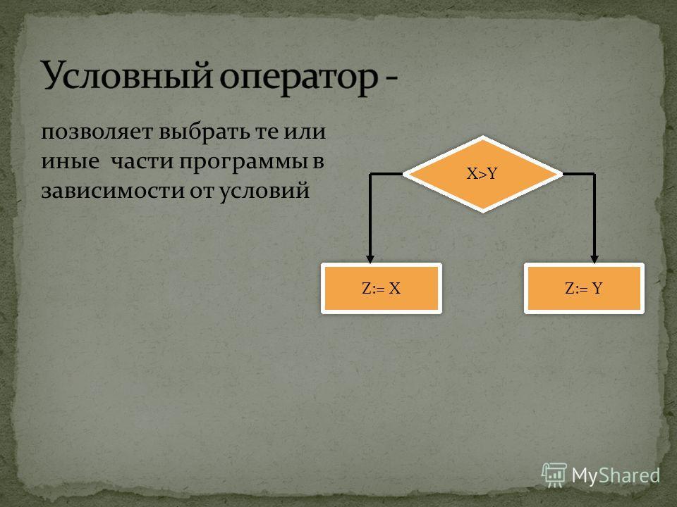 позволяет выбрать те или иные части программы в зависимости от условий Z:= X Z:= Y X>Y