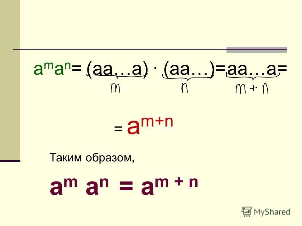 aman=aman=(aa…a) (aa…)= aa…a= = a m+n Таким образом, a m a n = a m + n