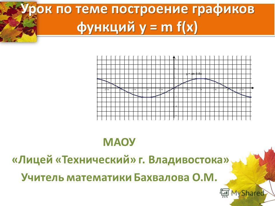 Урок по теме построение графиков функций y = m f(x) МАОУ «Лицей «Технический» г. Владивостока» Учитель математики Бахвалова О.М.
