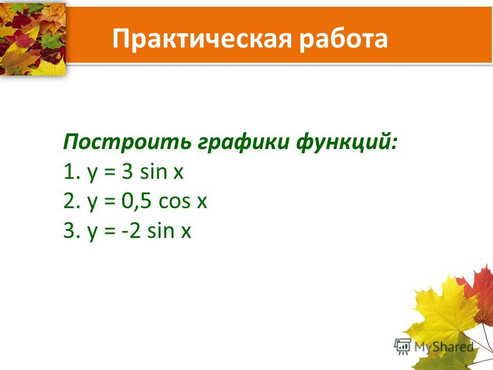 Практическая работа Построить графики функций: 1. y = 3 sin x 2. y = 0,5 cos x 3. y = -2 sin x