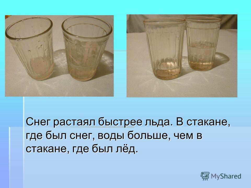 Снег растаял быстрее льда. В стакане, где был снег, воды больше, чем в стакане, где был лёд.