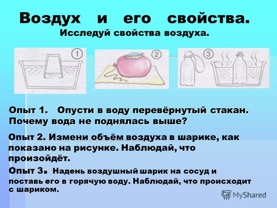 Опыт 1. Опусти в воду перевёрнутый стакан. Почему вода не поднялась выше? Опыт 2. Измени объём воздуха в шарике, как показано на рисунке. Наблюдай, что произойдёт. Опыт 3. Надень воздушный шарик на сосуд и поставь его в горячую воду. Наблюдай, что пр