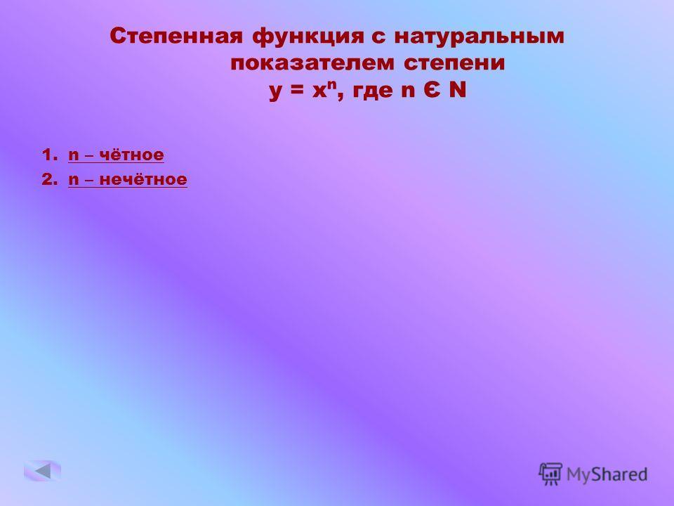 Степенная функция 1.Степенная функция с натуральным показателем степениСтепенная функция с натуральным показателем степени 2.Степенная функция с целым отрицательным показателем степениСтепенная функция с целым отрицательным показателем степени