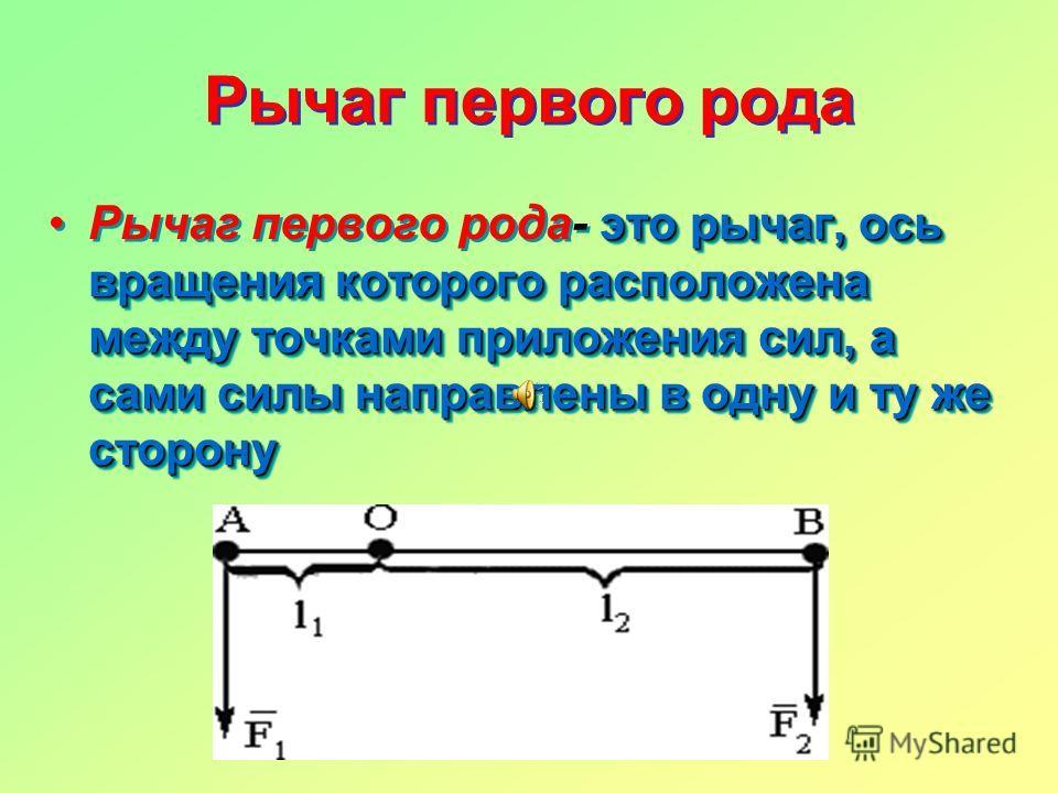 Рычаг первого рода это рычаг, ось вращения которого расположена между точками приложения сил, а сами силы направлены в одну и ту же сторонуРычаг первого рода- это рычаг, ось вращения которого расположена между точками приложения сил, а сами силы напр