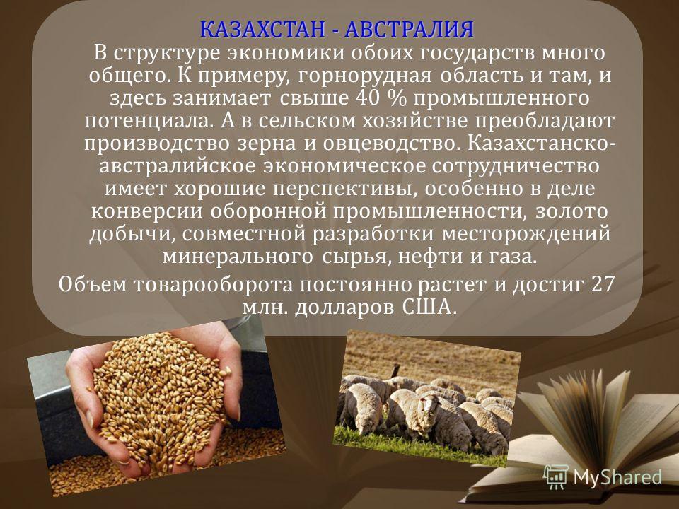 КАЗАХСТАН - АВСТРАЛИЯ КАЗАХСТАН - АВСТРАЛИЯ В структуре экономики обоих государств много общего. К примеру, горнорудная область и там, и здесь занимает свыше 40 % промышленного потенциала. А в сельском хозяйстве преобладают производство зерна и овцев