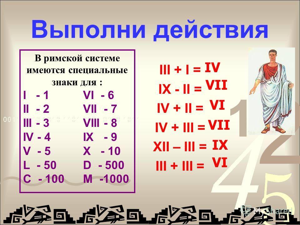 Выполни действия III + I = IX - II = IV + II = IV + III = XII – III = III + III = IV VII VI VII IX VI В римской системе имеются специальные знаки для : I - 1 VI - 6 II - 2VII - 7 III - 3VIII - 8 IV - 4IX - 9 V - 5X - 10 L - 50D - 500 C - 100M -1000