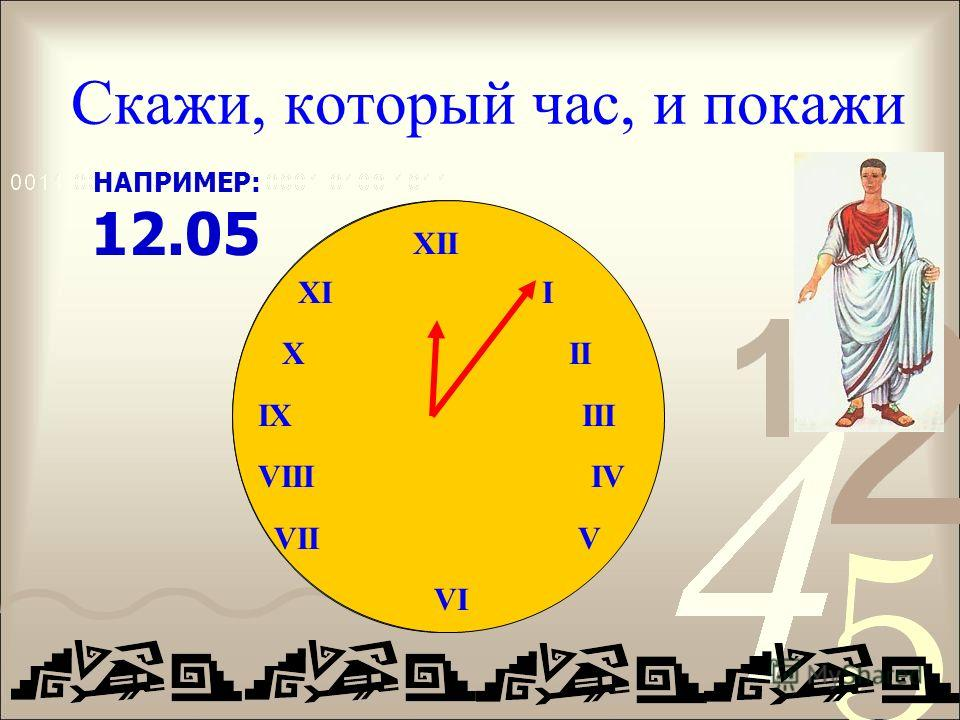 Скажи, который час, и покажи XII IX III VIII IV VII V VI НАПРИМЕР: 12.05